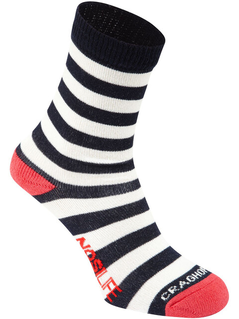 Craghoppers NosiLife Travel Socks Kids Twin Pack Soft Navy/Watermelon Plain & Stripe